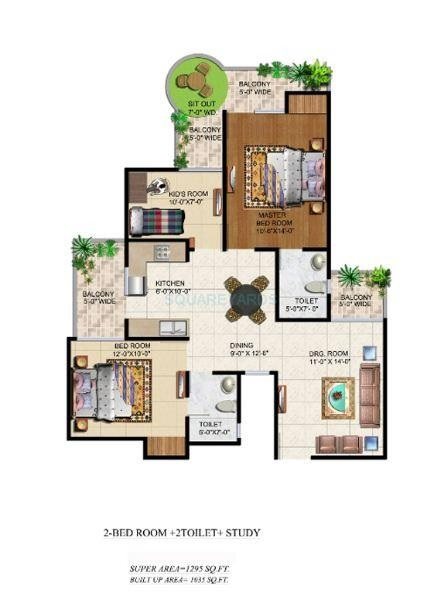 2 Bhk 1295 Sq Ft Apartment For Sale In Ajnara Grand Heritage At Rs 6502 Sq Ft Noida