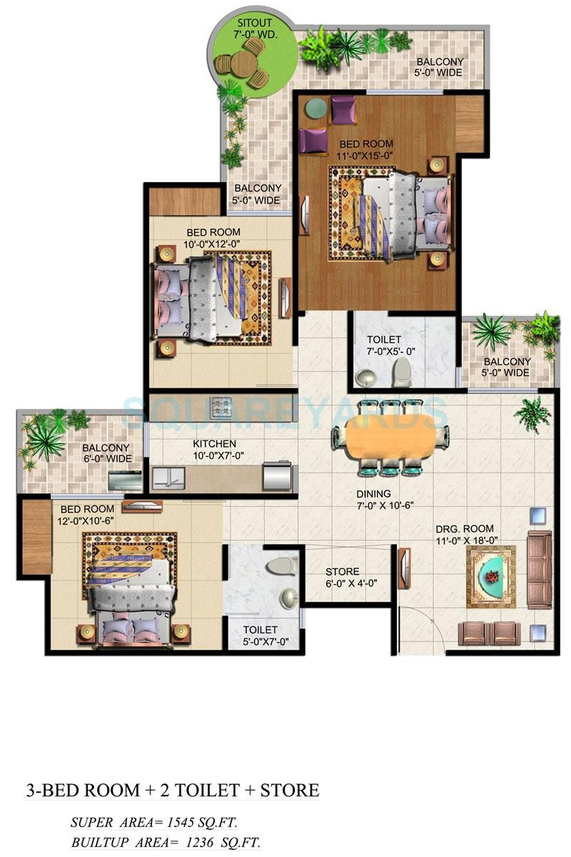 3 Bhk 1545 Sq Ft Apartment For Sale In Ajnara Grand Heritage At Rs 6464 Sq Ft Noida