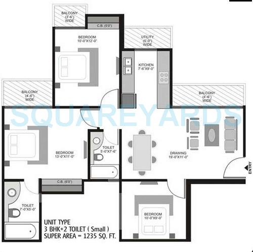 3 Bhk 1235 Sq Ft Apartment For Sale In Homes 121 At Rs 5575 Sq Ft Noida