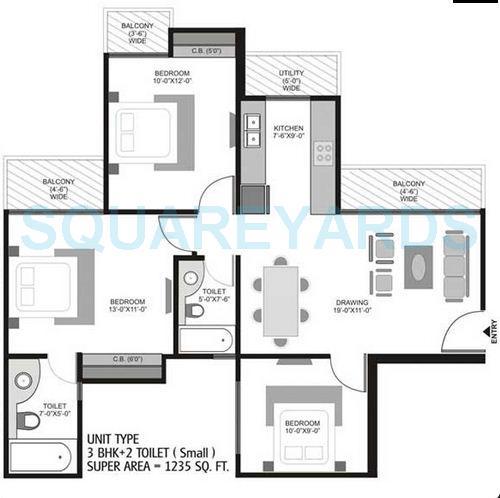 ajnara homes121 apartment 3bhk 1235sqft 1