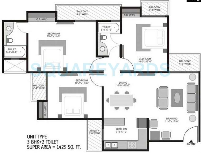 3 Bhk 1425 Sq Ft Apartment For Sale In Homes 121 At Rs 5575 Sq Ft Noida