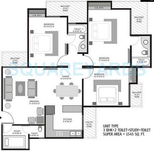ajnara homes121 apartment 3bhk st 1545sqft 1