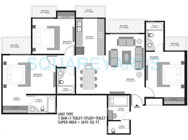 3 Bhk 1695 Sq Ft Apartment For Sale In Homes 121 At Rs 5575 Sq Ft Noida