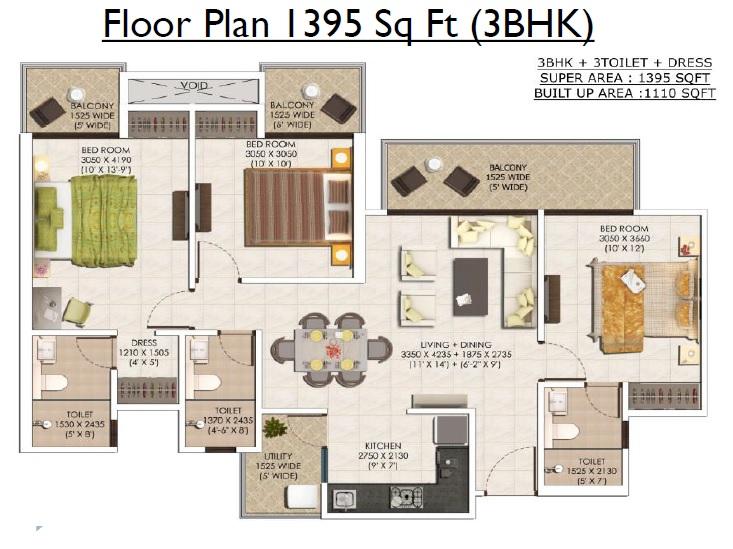 ajnara khel gaon phase 2 tower p q and r apartment 3bhk 1395sqft31