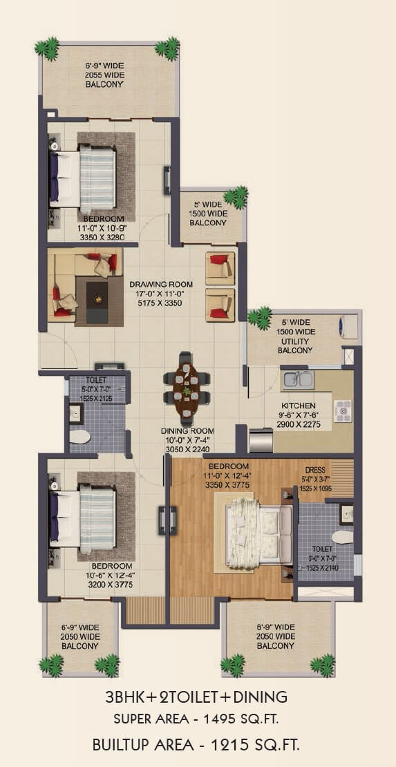 3 Bhk 1495 Sq Ft Apartment For Sale In Ajnara Klock Tower At Rs 4668 Sq Ft Noida