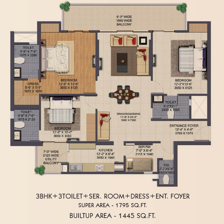 3 Bhk 1795 Sq Ft Apartment For Sale In Ajnara Klock Tower At Rs 4621 Sq Ft Noida