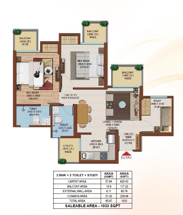 ajnara olive greens apartment 2bhk st 1033sqft11