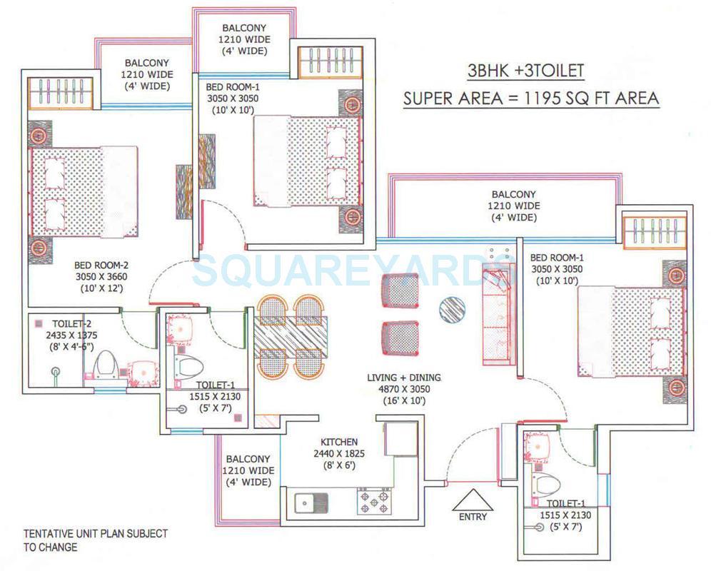 ajnara sports city apartment 3bhk 1195sqft 1