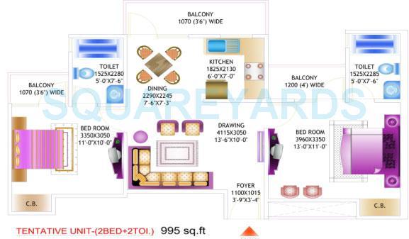 amrapali pan oasis apartment 2bhk 995sqft 1