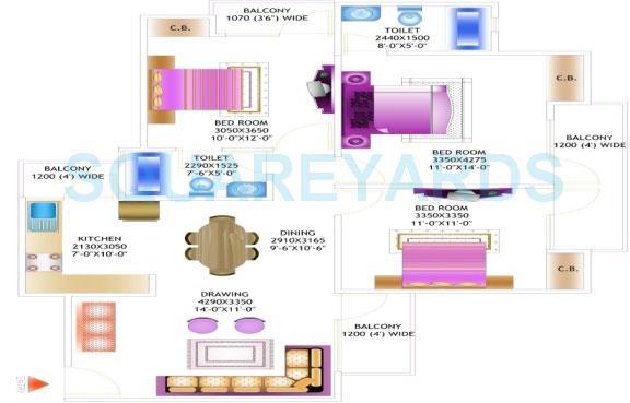 amrapali pan oasis apartment 3bhk 1385sqft 1