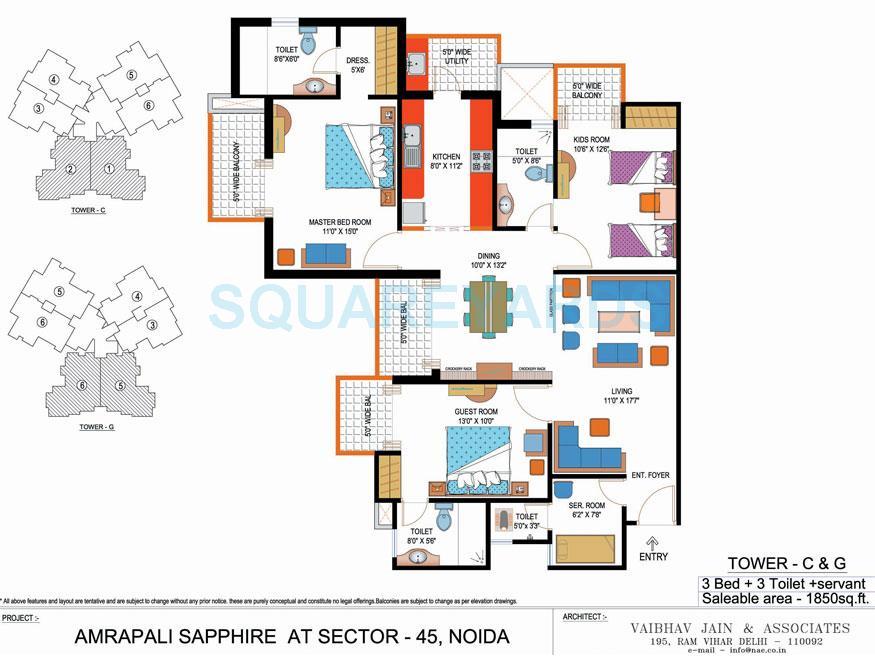 amrapali sapphire apartment 3bhk sq 1850sqft 1