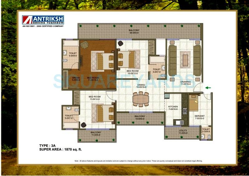 3 Bhk 1870 Sq Ft Apartment For Sale In Antriksh Forest At Rs 5500 Sq Ft Noida