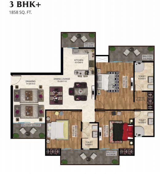 antriksh the golf address apartment 3bhk 1858sqft 1