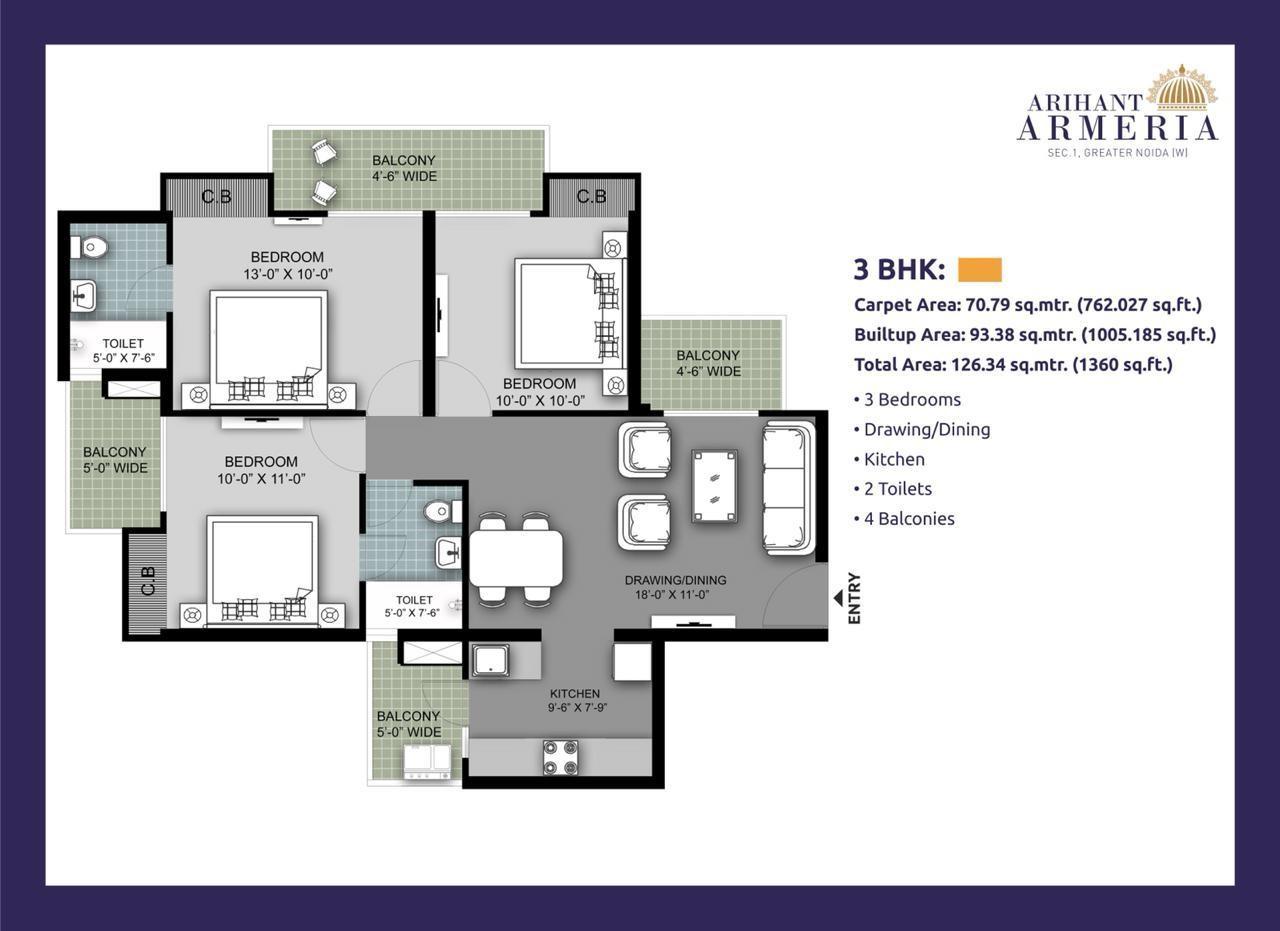 arihant armeria apartment 3bhk 1360sqft21