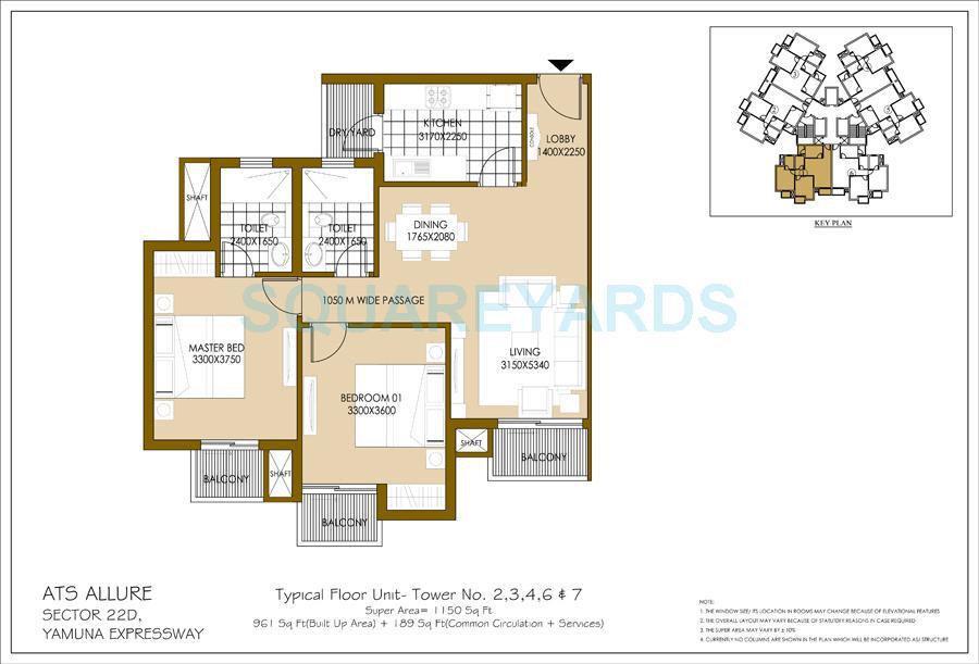 ats allure apartment 2bhk 1150sqft 1