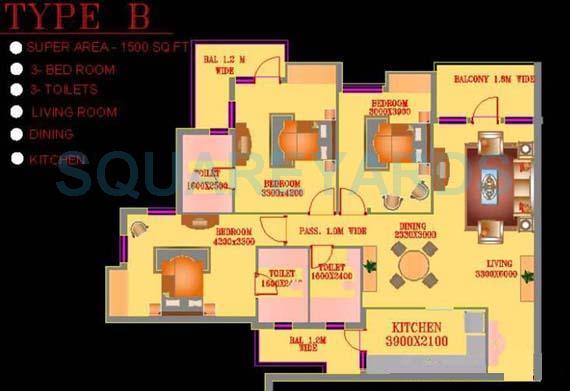 ats green village apartment 3bhk 1500sqft 1