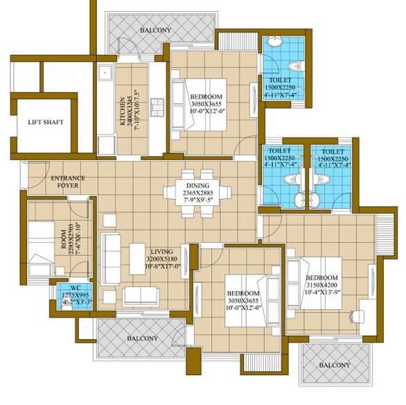 ats happy trails apartment 3bhk st 1625sqft 1