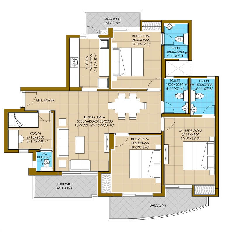 ats homekraft pious hideaways apartment 3bhk sq 1675sqft 1