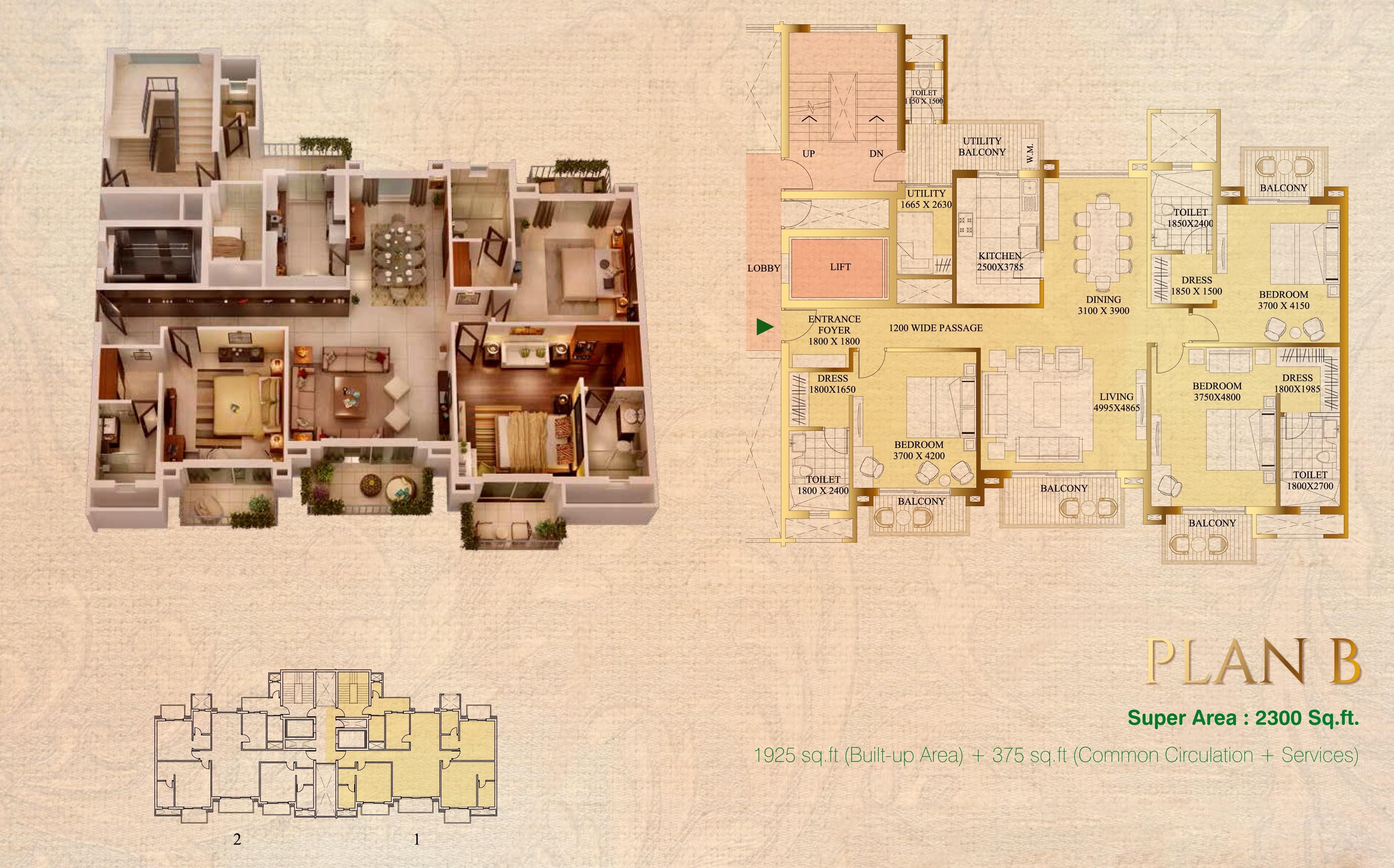 ats le grandiose apartment 3bhk 2300sqft 1