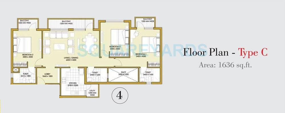 3 Bhk 1636 Sq Ft Apartment For Sale In Ats One Hamlet At Rs 7290 Sq Ft Noida
