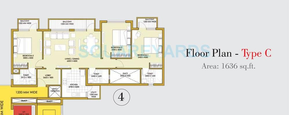 ats onehamlet apartment 3bhk 1636sqft 1