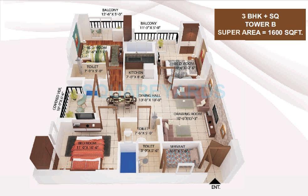 avj heights apartment 3bhk sq 1600sqft 1