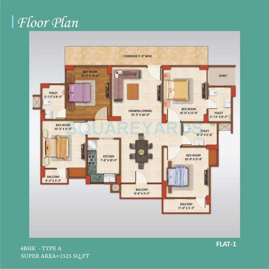 avj homes apartment 4bhk 1525sqft 1