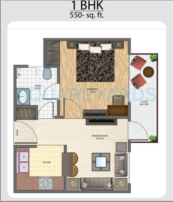 1 bhk 550 sq ft apartment for sale in brys indiahomz at rs 2904 sq ft noida. Black Bedroom Furniture Sets. Home Design Ideas