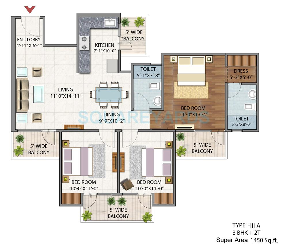 bsb vaibhav heritage height apartment 3bhk 1450sqft 1