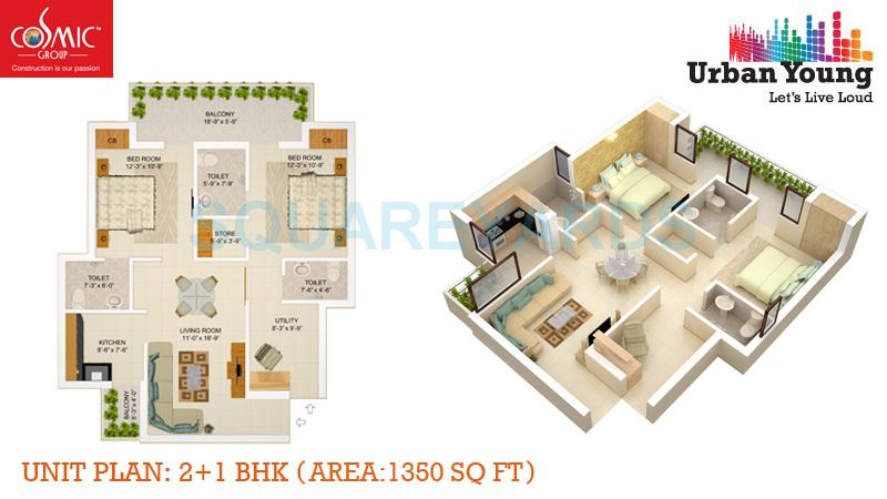 cosmic urban young apartment 2bhk 1350sqft 1