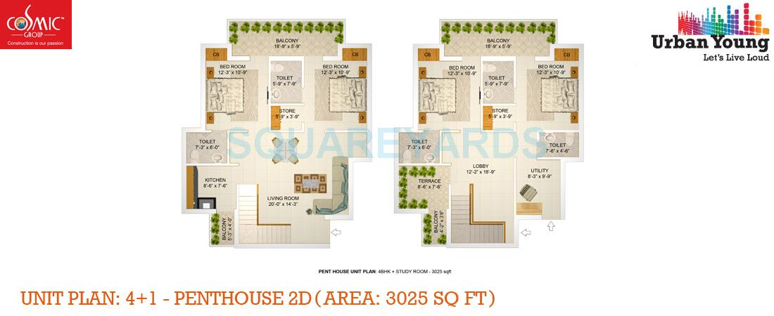 cosmic urban young penthouse 4bhk 3025sqft 1