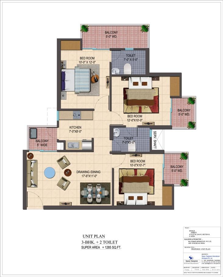 cosmos shivalik homes 2 apartment 3bhk 1285sqft 1