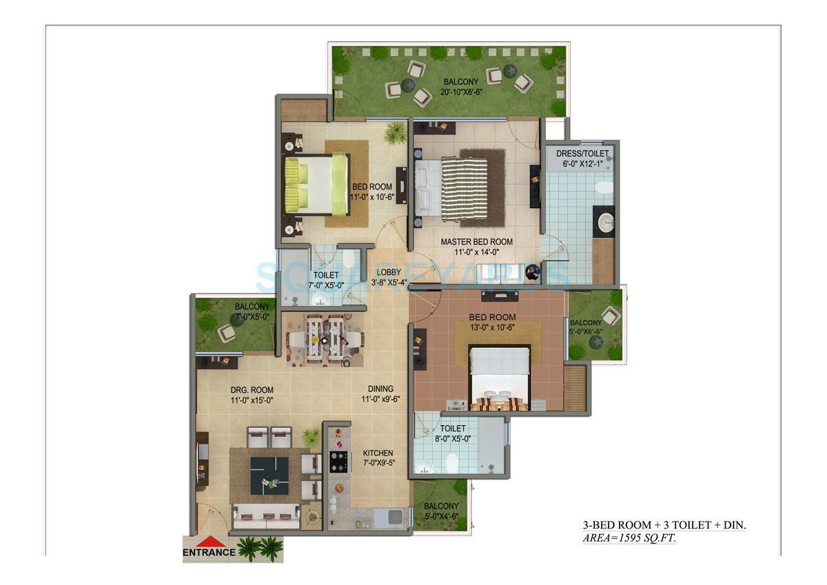cosmos shivalik homes apartment 3bhk 1595sqft 1
