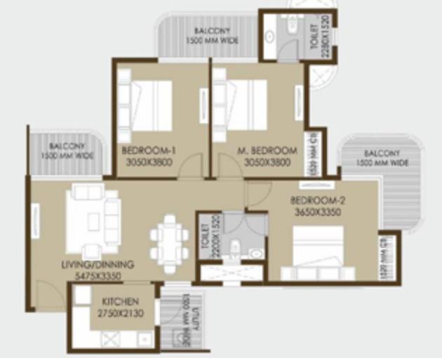 crc sublimis apartment 3bhk 1305sqft21