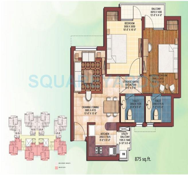 earthcon casa royale apartment 2bhk 875sqft 1