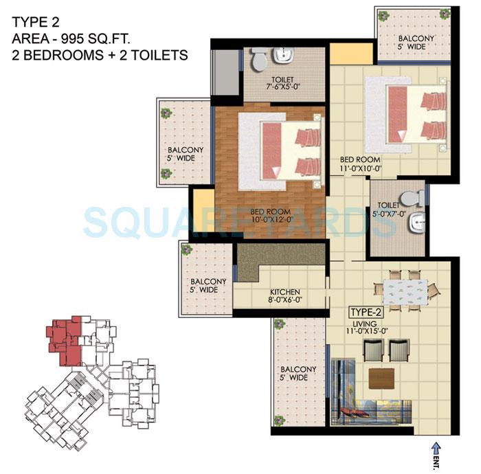 ekdant fng apartment 2bhk 995sqft 1