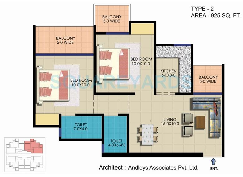 ekdant rawal residency apartment 2bhk 925sqft 1