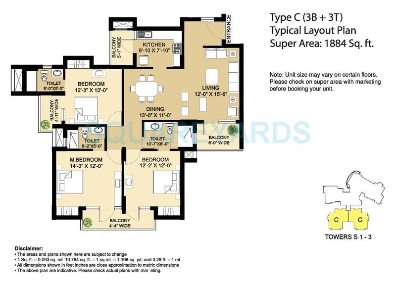 eldeco aamantran apartment 3bhk 1884sqft 1