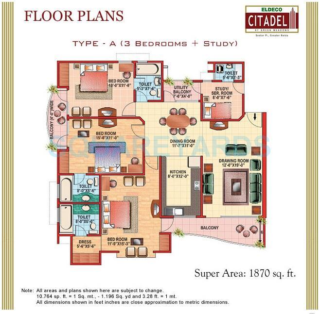 eldeco citadel apartment 3bhk 1870sqft 1