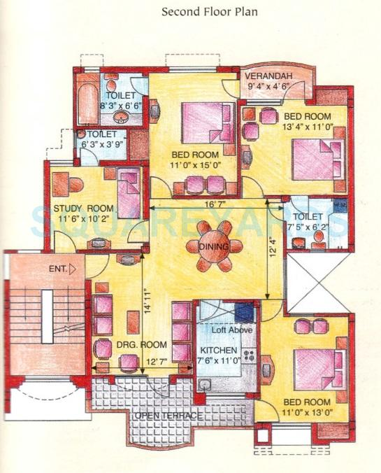 eldeco green meadows apartment ss 3bhk 1485sqft 1
