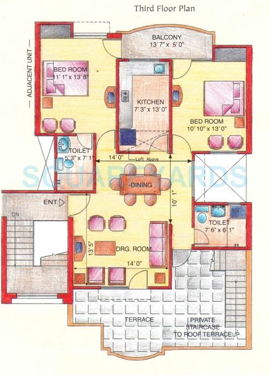 eldeco green meadows apartment tf 2bhk 1045sqft 1
