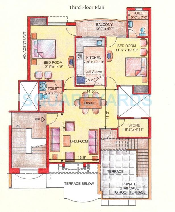 eldeco green meadows apartment tf 2bhk 1150sqft 1