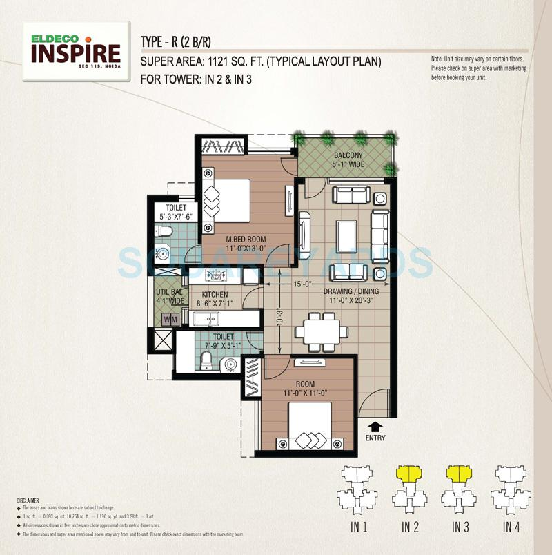eldeco inspire apartment 2bhk 1121sqft 1