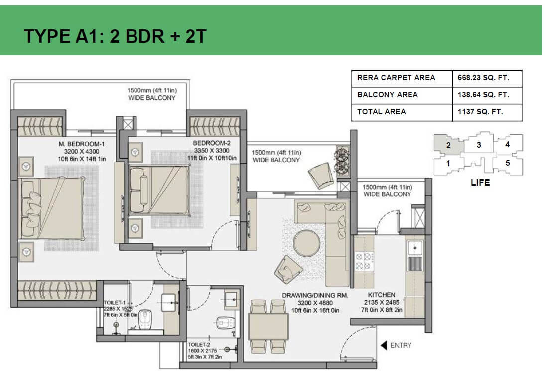 eldeco live by the greens apartment 2bhk 668sqft 1