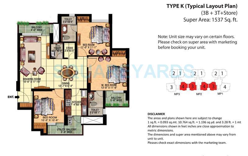eldeco mangolia park apartment 3bhk 1537sqft 1