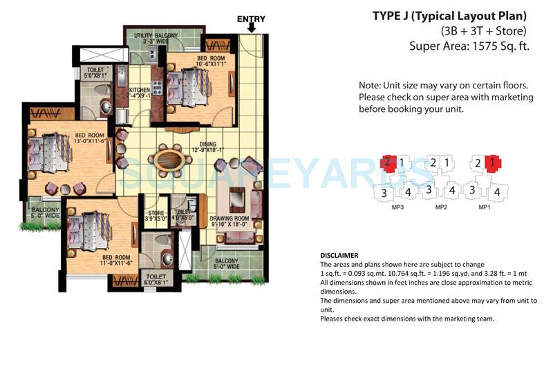 eldeco mangolia park apartment 3bhk 1575sqft 1
