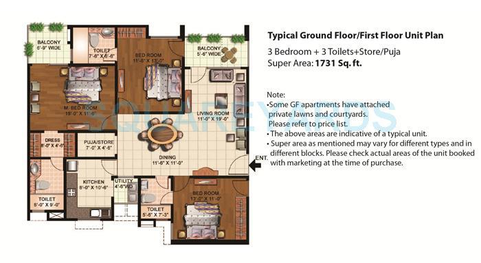 eldeco mystic greens apartment 3bhk gf ff 1731sqft 1