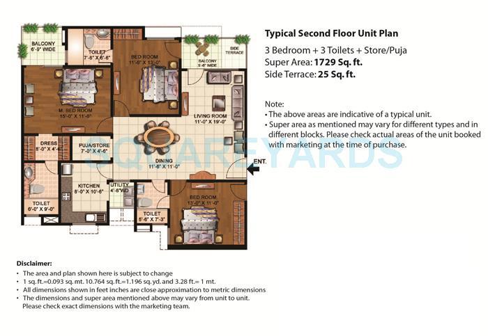 eldeco mystic greens apartment 3bhk sf 1729sqft 1