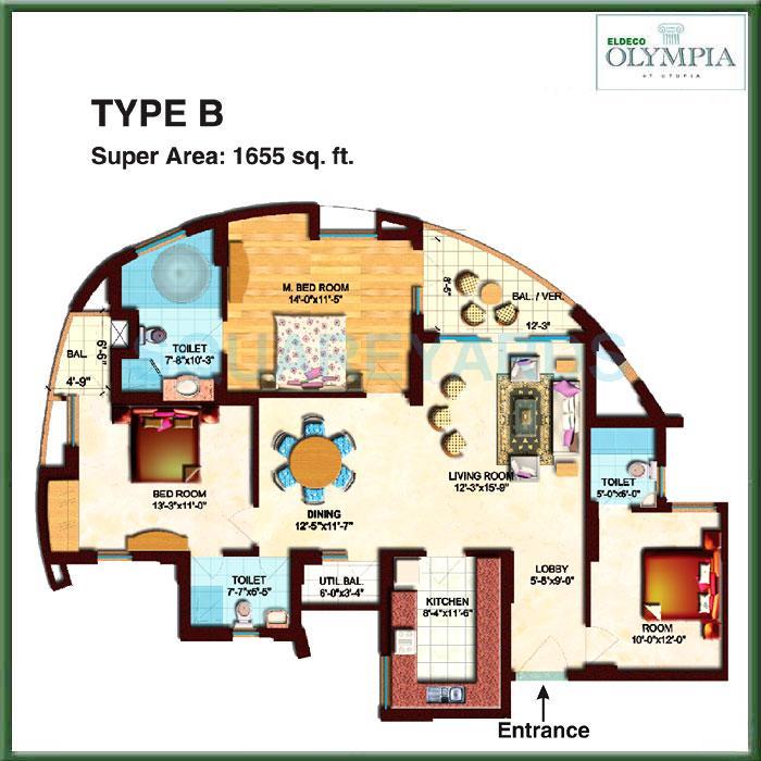 eldeco olympia apartment 3bhk 1655sqft 1