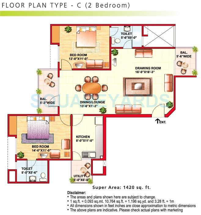 eldeco riviera apartment 2bhk 1420sqft 1